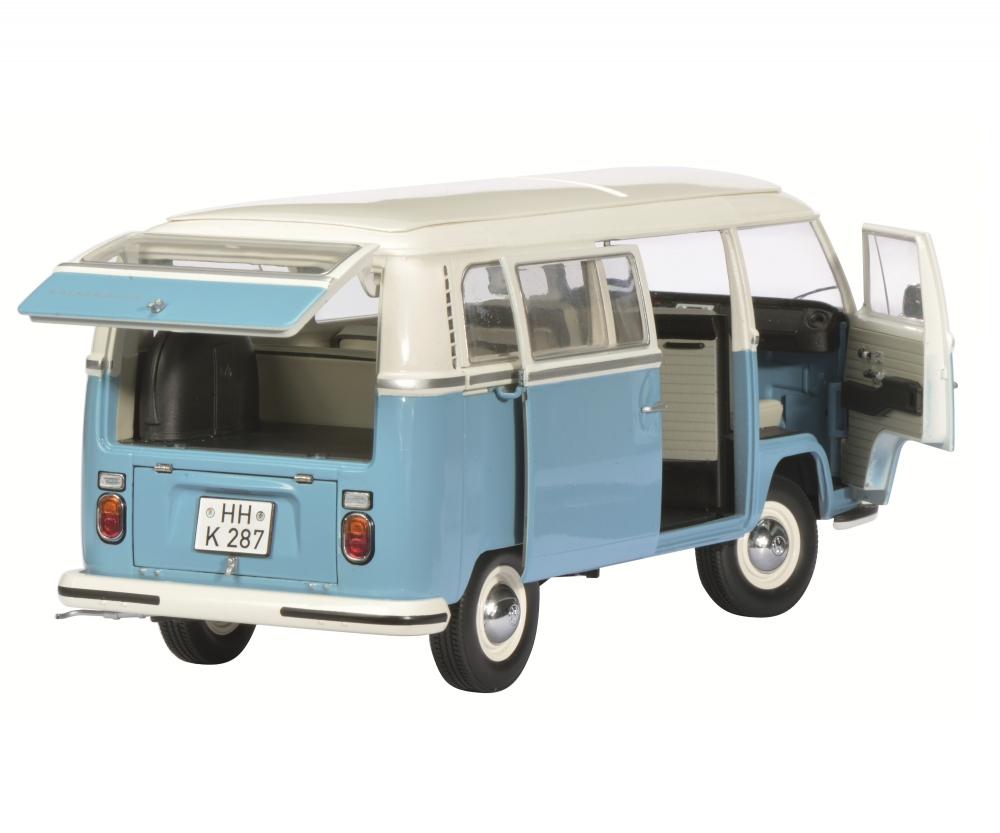 VW T2 a bus, white-blue, 1:18 - Edition 1:18 - Box van models - Schuco models - shop.schuco.de