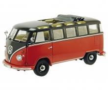 VW T1b Samba, schwarzbraun-rot 1:18