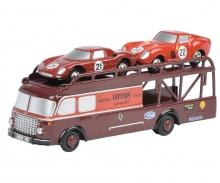 Piccolo Fiat Bartoletti Renntransporter mit Ferrari 250LM und 250GTO