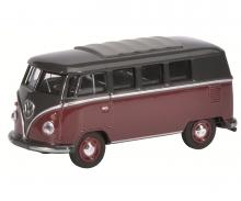 VW T1 Bus, dunkelrot-schwarz, 1:64
