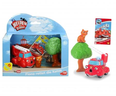 DICKIE Toys Helden der Stadt - Spielset 1 - Fiona rettet die Katze