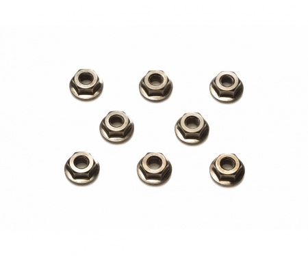 4mm Serrated Whl Nut Bla*8