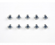 4mm Alum. Flanged Lock Nut silver (10)