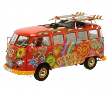 "VW T1 Samba ""Hippie"" with roof tracks and surfboards, 1:18"