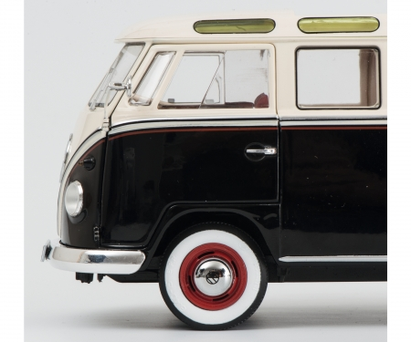 VW T1b Samba, black-white, 1:18