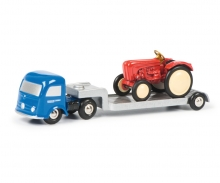 Mercedes-Benz with low loader and Porsche Tractor
