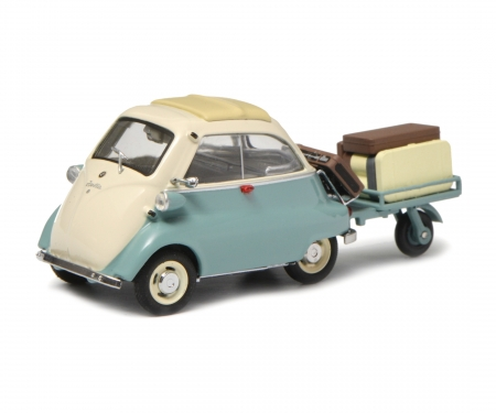 """BMW Isetta with trailer and luggage """"Auto-Porter"""", green beige, 1:43"""