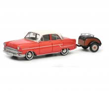 Opel Kapitän with Westfalia trailer, red-white, 1:43