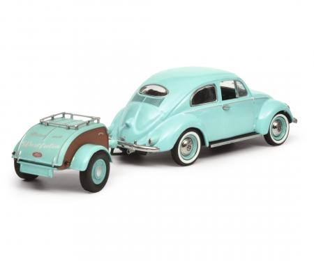 VW Käfer Ovali with trailer Westfalia, turquoise, 1:43