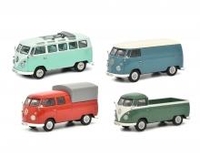 """Set """"VW T1b"""", VW T1b Samba, Kastenwagen, Doppelkabine und Pritsche, 1:43"""