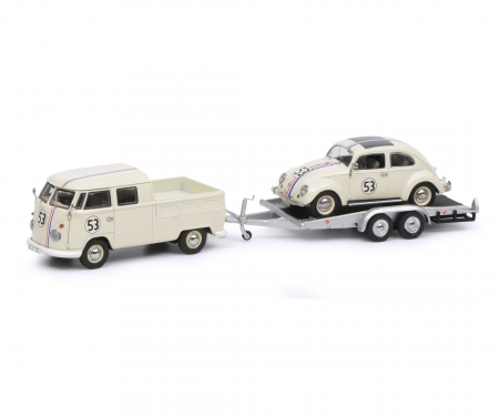 """VW T1b Doppelkabine mit Hänger und Ovali Käfer """"53-Racing"""", beige, 1:43"""