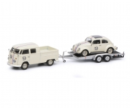 "VW T1b twin cabin with trailer and Ovali beetle ""53-Racing"", beige, 1:43"