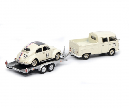 """VW T1b twin cabin with trailer and Ovali beetle """"53-Racing"""", beige, 1:43"""