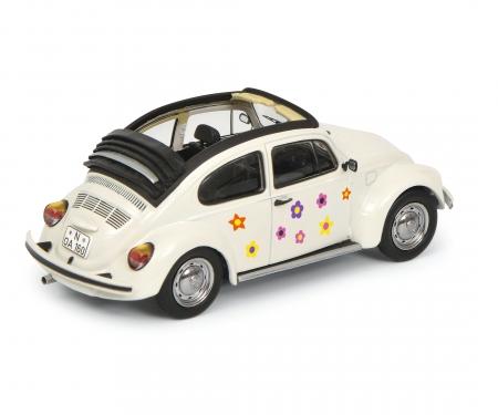 "VW Käfer Open Air ""Blumen-Dekor"", white 1:43"