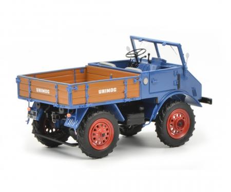Mercedes-Benz Unimog U401 with wooden bed, blue, 1:32