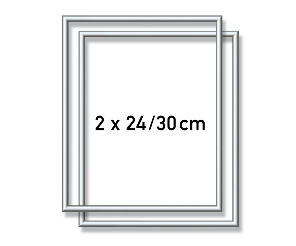 2 Aluminium frames 24 x 30 cm – mat silver - Picture frames made of ...