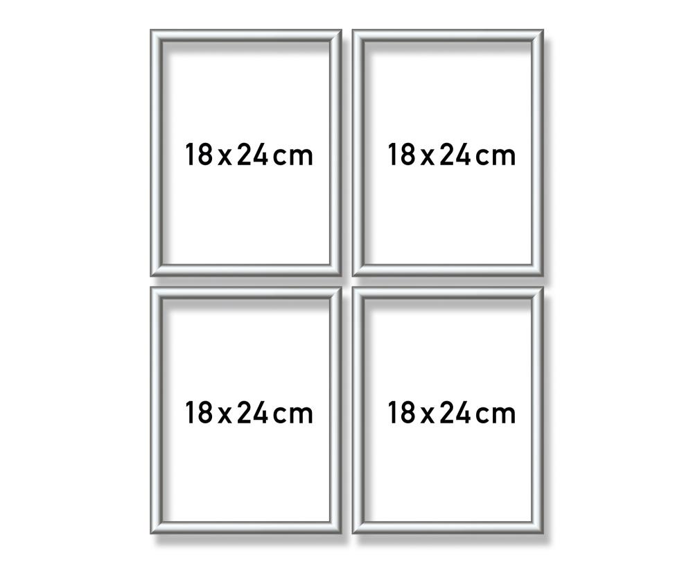 Alurahmen Quattro 18 x 24 cm – Silber matt - Aluminium-Bilderrahmen ...