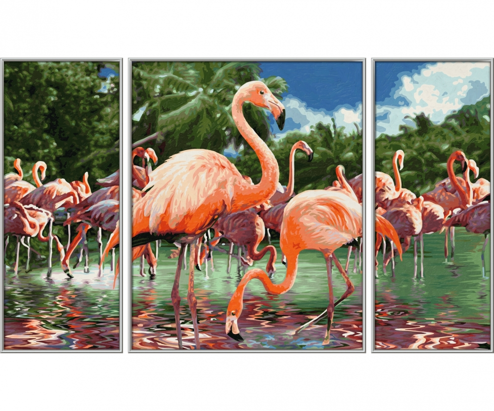 flamingos triptychon motiv gruppen. Black Bedroom Furniture Sets. Home Design Ideas