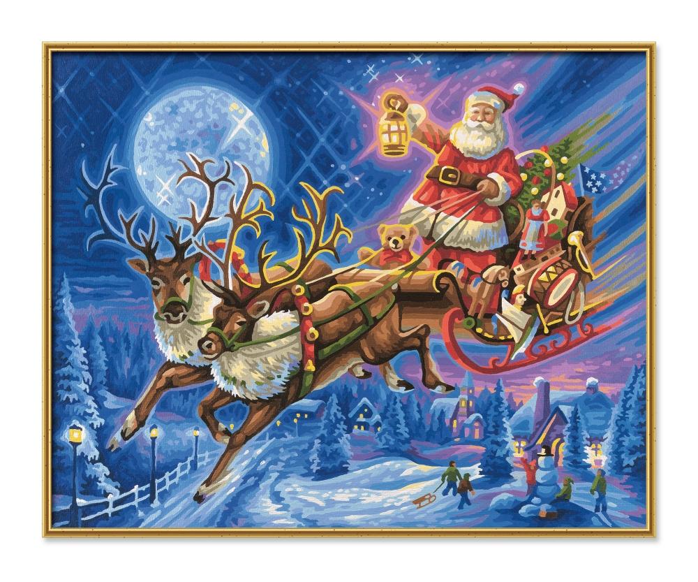 Santa Claus With His Reindeer Slide Christmas Paintings