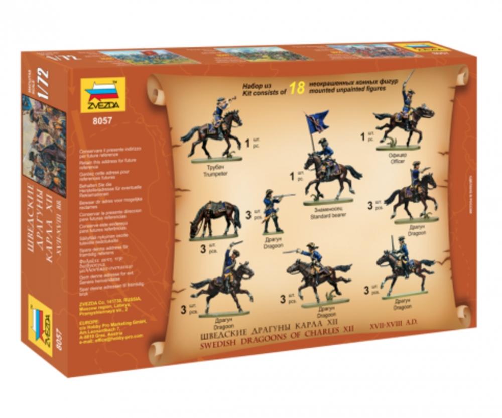 Spiele Spielzeug Zvezda 500788057-1:72 Swedish Dragoons 17-18th ...