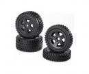 Buggy-Tire/Wheel Set All Terrain Bl(2+2)
