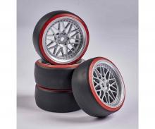 carson 1:10 Wheel Set Drift (4) silver/red