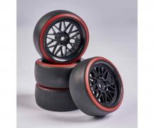 carson 1:10 Wheel Set Drift (4) black/red