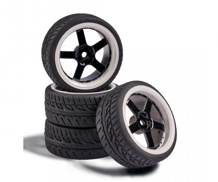 carson 1:10 Wheel Set 5 sp. Design (4) black/wh
