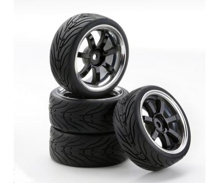 carson 1:10 SC-Räder W7 Style chrom/schwarz (4)