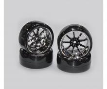 Drift Tire Set 1/10 black/chrome (4)