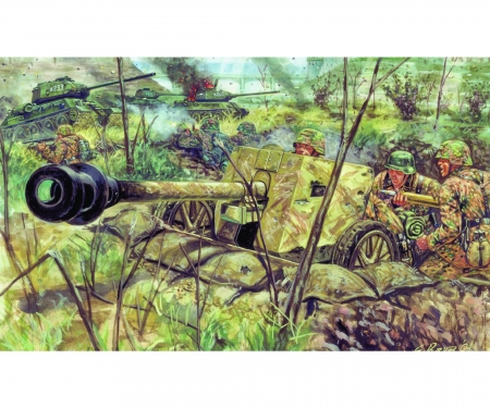 carson 1:72 WWII German PAK40 AT Gun w/servants