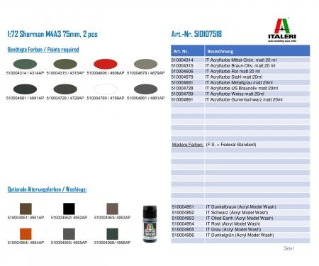 carson 1:72 Sherman M4A3 75mm, 2 pcs