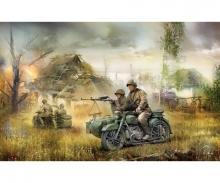carson 1:72 Sov.motorc.M-72 w/sidecar&crew WWII