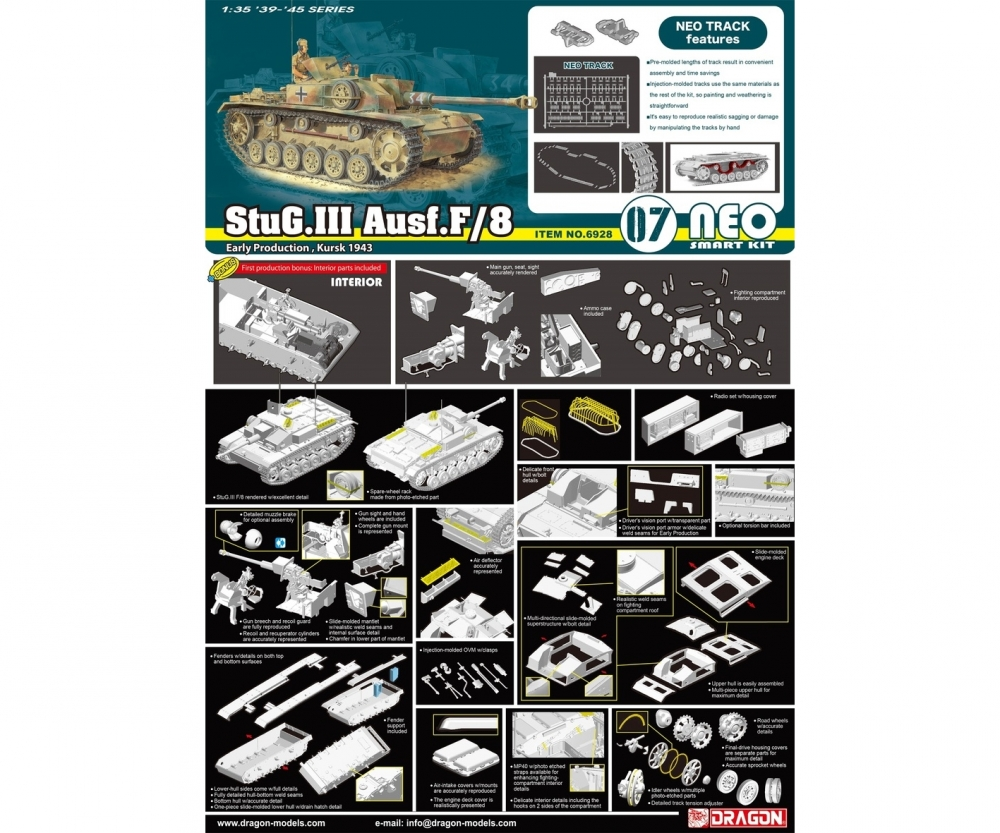 Dragon 1//35 Scale StuG.III F//8 Early Production Parts Tree W from Kit No 6620