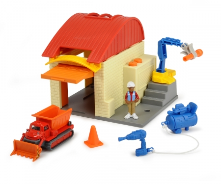 DICKIE Toys Bob the Builder Garage Playset Muck and Leo