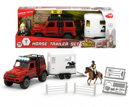 DICKIE Toys SET VEHÍCULO REMOLQUE CABALLO AMG 500