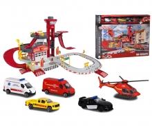 majorette Creatix Feuerwehrstation + 5 Autos
