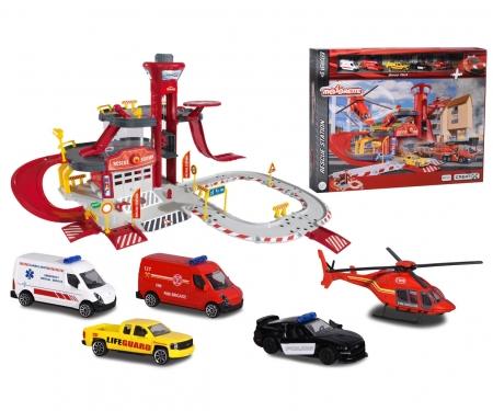 majorette Estación de rescate con 5 vehículos