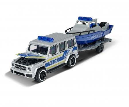 majorette Mercedes-AMG G 63 mit Polizeiauto mit Polizeiboot und Anhänger