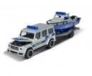 majorette Mercedes-AMG G 63 mit Polizei Boot und Anhänger