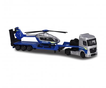majorette Mercedes-Benz Polizei Transporter +Helikopter