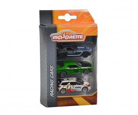 majorette 3er Set Rennfahrzeuge - Mercedes-Benz SLS AMG, Dodge Challenger SRT Hellcat, Citroën DS 3 WRC 2015 Loeb