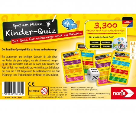 noris_spiele Children's quiz for clever kids