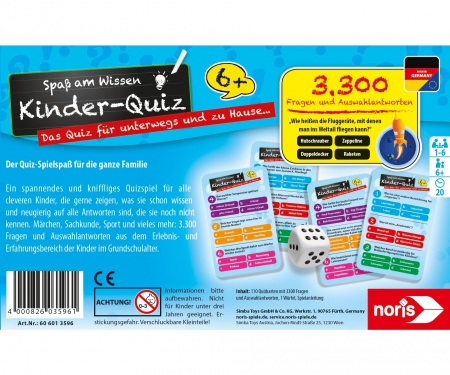 noris_spiele Children's quiz for clever kids blue