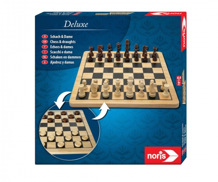 noris_spiele Deluxe Wooden - Chess & Checkers