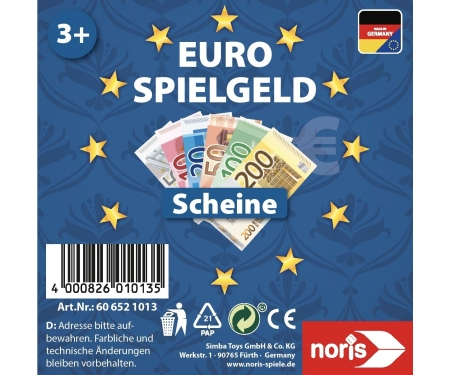 noris_spiele Euro-Playmoney Banknotes