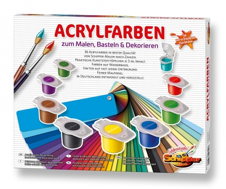 Acrylic paints for painting, handicraft and decoration work