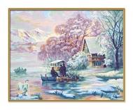 schipper Hiver au lac de montagne