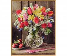 Stillleben mit Pfingstrosen Malen nach Zahlen Schipper 40x50 cm Rosen in Vase