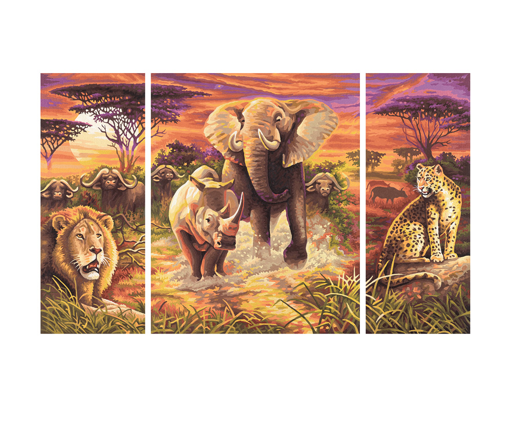 afrika die gro en f nf triptychon 50 x 80 cm 3 teilig bildformate. Black Bedroom Furniture Sets. Home Design Ideas
